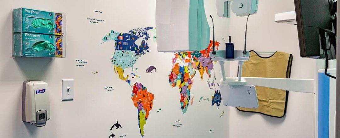 Kid-friendly orthodontic examination room at Braces Braces in Marietta - East Cobb.